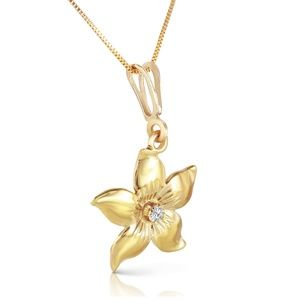 SOLID GOLD FLOWER NECKLACE WITH NATURAL DIAMOND